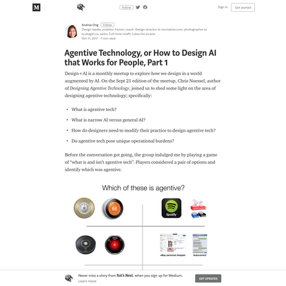 Agentive Technology, or How to Design AI that Works for People, Part 1