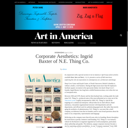 Corporate Aesthetics: Ingrid Baxter of N.E. Thing Co. - Art in America