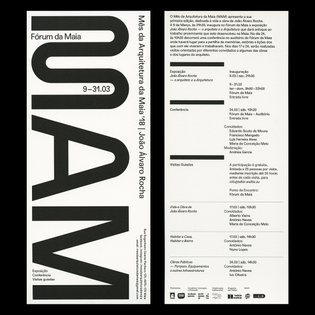 MAM'18 (@mesdaarquiteturadamaia) flyer with the monthly program, dedicated to the architectural works of João Álvaro ...