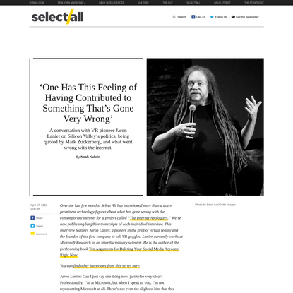 Jaron Lanier Q&A: 'We Won, and We Turned Into Assholes'