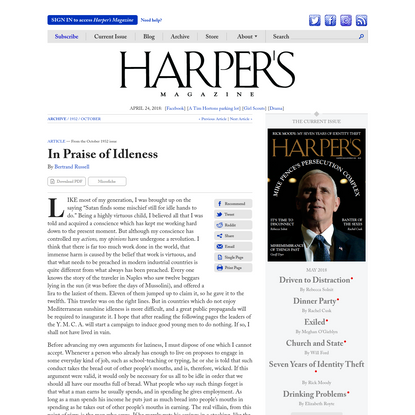 In Praise of Idleness —Bertrand Russell