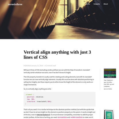 Vertical align anything with just 3 lines of CSS | zerosixthree