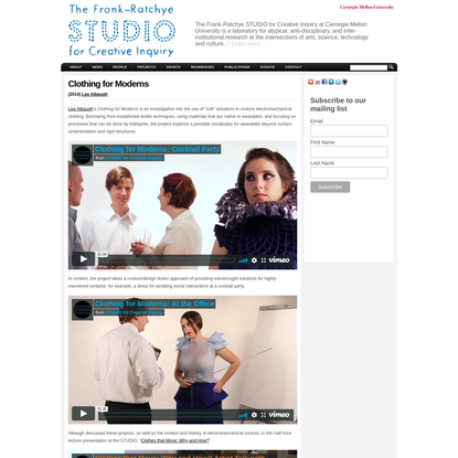 """STUDIO for Creative Inquiry """" Clothing for Moderns"""