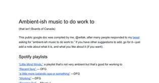 Ambient-ish music to do work to