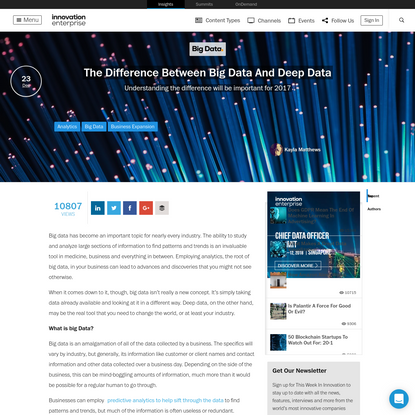 The Difference Between Big Data And Deep Data   Articles   Big Data