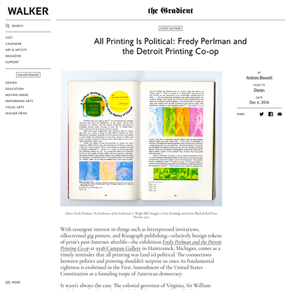 All Printing Is Political: Fredy Perlman and the Detroit Printing Co-op