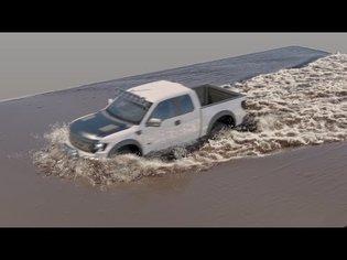Truck vs muddy water - Phoenix FD 3 simulation