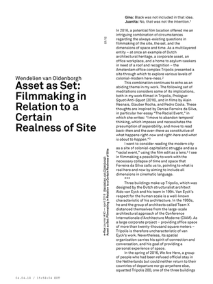Asset as Set: Filmmaking in Relation to a Certain Realness of Site