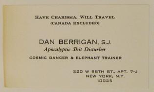 Dan Berrigan business card