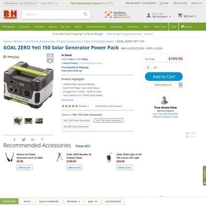 GOAL ZERO Yeti 150 Solar Generator Power Pack 22004 B&H Photo