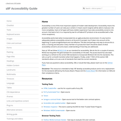 Home - 18F Accessibility Guide