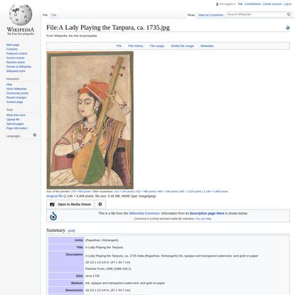 File:A Lady Playing the Tanpura, ca. 1735.jpg - Wikipedia