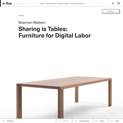 Sharing is Tables: Furniture for Digital Labor