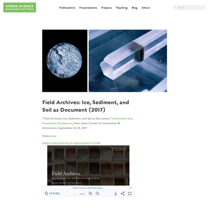 Field Archives: Ice, Sediment, and Soil as Document (2017) - Words In Space