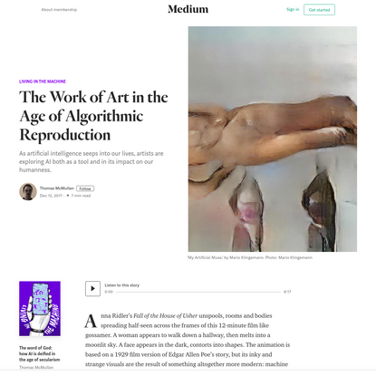 The Work of Art in the Age of Algorithmic Reproduction
