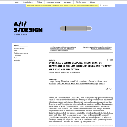 Writing as a design discipline: The Information Department of the Ulm School of Design and its impact on the school and beyo...