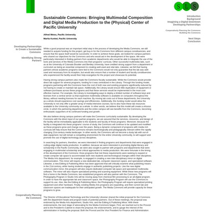 Sustainable Commons: Bringing Multimodal Composition and Digital Media Production to the (Physical) Center of Pacific Univer...