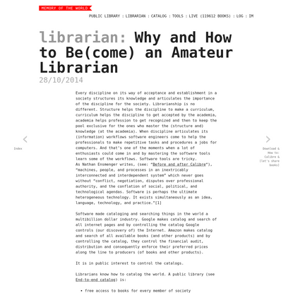 Why and How to Be(come) an Amateur Librarian