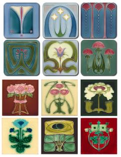 Castle Melamine Art Nouveau Coasters