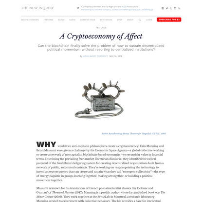 A Cryptoeconomy of Affect