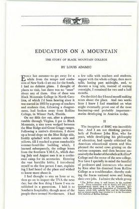 Education on a Mountain: The Story of Black Mountain College, by Louis Adamic (1936) [.pdf]