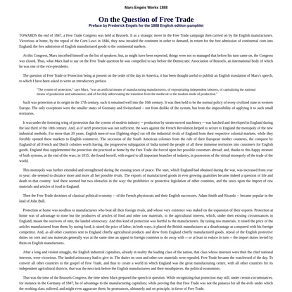 1888: On the question of free trade
