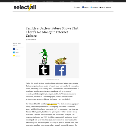Tumblr's Unclear Future Shows That There's No Money in Internet Culture