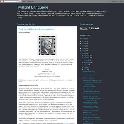 Frank Lloyd Wright and Synchromysticism