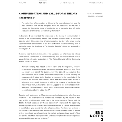 Communisation and Value-Form Theory by Endnotes