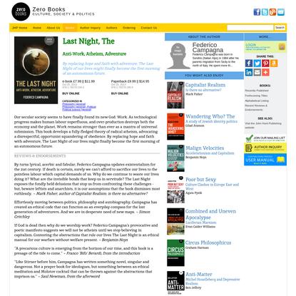 Last Night, The || Zero Books || Book Info