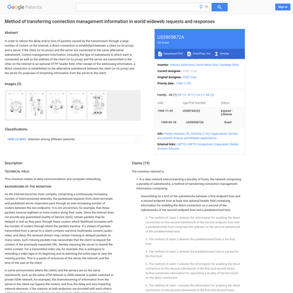 US5905872A - Method of transferring connection management information in world wideweb requests and responses - Google Patents