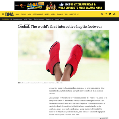 Lechal: The world's first interactive haptic footwear | Latest News & Updates at Daily News & Analysis