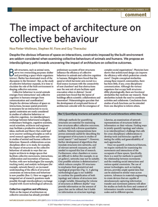 Noa Pinter-Wollman, The Impact of Architecture on Collective Behavior, Nature Ecology & Evolution 2017