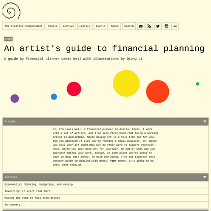 An artist's guide to financial planning
