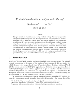 Ethical Considerations on Quadratic Voting