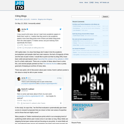 Citing Blogs - Joi Ito's Web