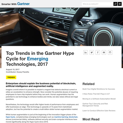 Top Trends in the Gartner Hype Cycle for Emerging Technologies, 2017 - Smarter With Gartner