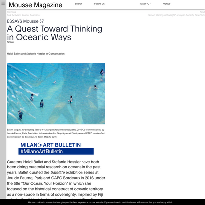 A Quest Toward Thinking in Oceanic Ways