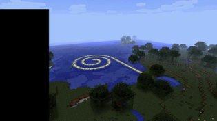 Remake of Robert Smithson's Spiral Jetty in Minecraft