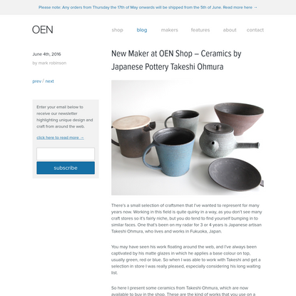 New Maker at OEN Shop - Ceramics by Japanese Pottery Takeshi Ohmura