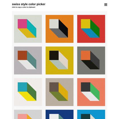 Swiss Style Color Picker   International Style Colors Scheme Palette