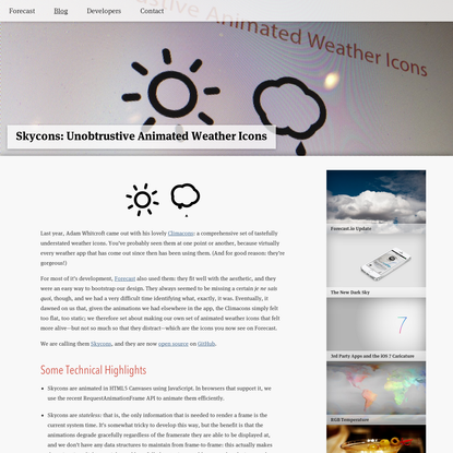 Forecast Blog: Skycons: Unobtrustive Animated Weather Icons