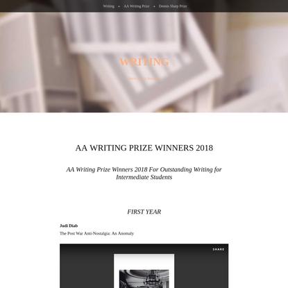 AA Writing Prize Winners 2018 - Writing