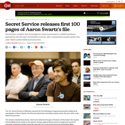 Secret Service releases first 100 pages of Aaron Swartz's file