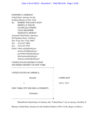 SDNY complaint against NYCHA