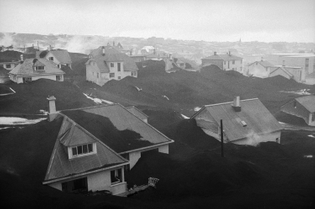 Ash-buried homes in Vestmannaeyjar, after the eruption of Eldfell volcano