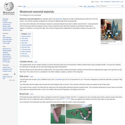 Montessori sensorial materials - Wikipedia