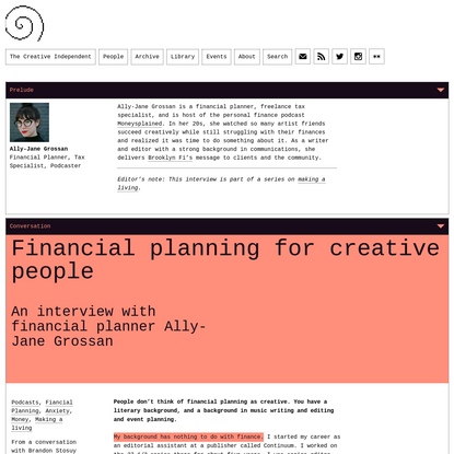 Ally-Jane Grossan on financial planning for creative people