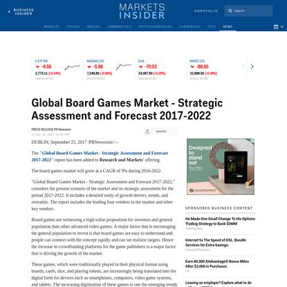 Global Board Games Market - Strategic Assessment and Forecast2 | Markets Insider