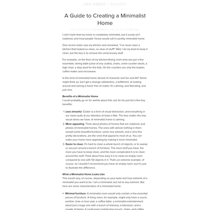 A Guide to Creating a Minimalist Home : zen habits